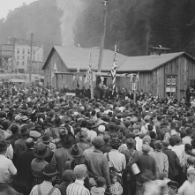 One of the smaller stops, at Lynch, Kentucky, where Governor Morrow addresses the crowd, October 20, 1920.