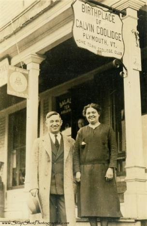Will Rogers visiting the Coolidge Homestead, Plymouth Notch, Vermont.