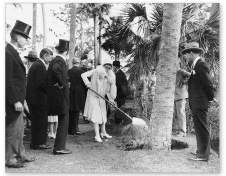 Grace planting tree at Bok Tower Feb 1929 Underwood Archives