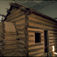 Representative log cabin like one in which Lincoln was born, found at the Birthplace National Historical Site in Hodgenville, Kentucky.