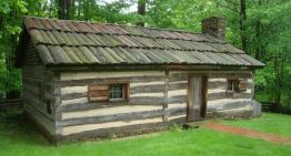 Replica of the log cabin in which Garfield was born, Moreland Hills, Ohio.