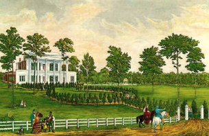 George Kirschner's contemporary rendition of The Hermitage. Note the brickwork kept behind the painted wooden portico.