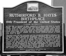 The new plaque to Hayes in Delaware, Ohio.
