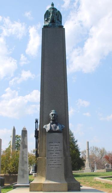President Tyler's commanding marker in Hollywood Cemetery, Richmond.