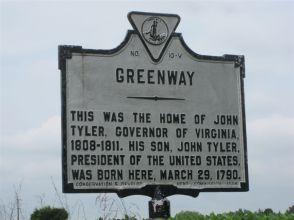 President Tyler's birthplace marker.