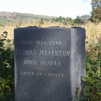 Marker at Shadwell, where Jefferson's birthplace stood. Photo credit: Liberty and Light.