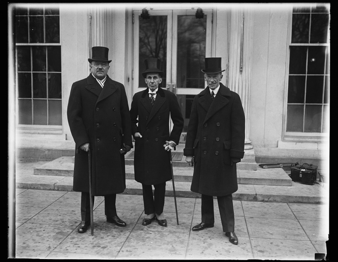 Coolidge receives Canadian delegation: the Minister of Justice, Hon. Ernest Lapointe; Minister from Canada to the US, Vincent Massey; and Prime Minister of Quebec, Hon. A. Taschereau, 1928. Photo credit: Library of Congress.