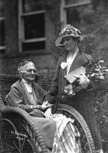 Grace Coolidge visiting with Miss Caroline Yale, long-time principal of the Clarke School for the Deaf, 1928