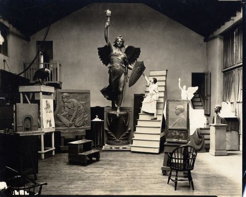 "Among the many artists from the U. S. in the sculpture category was Evelyn Batchelder, who presented a version of ""Victory"" like her 1926 work ('The Spirit of Victory') shown here."