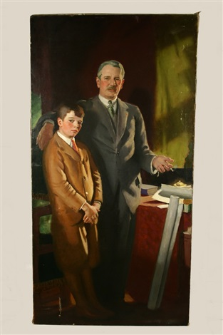 Portrait of William T. Aldrich and son by Charles Sidney Hopkinson