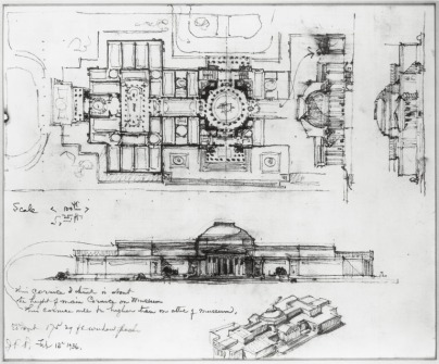 Conceptual designs for the future National Gallery of Art by Mellon's architect, John Russell Pope, 1935.