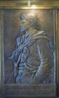 Plaque of Cornell football player and head coach, Henry Schoelkopf by James Fraser