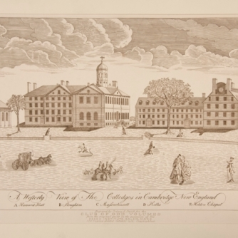 Harvard University as depicted by Paul Revere in 1767.