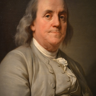 "Benjamin Franklin, ""First American,"" originally born in Boston."