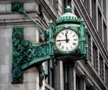 The iconic clock of Marshall Field's beloved department store in Chicago.