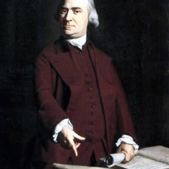 Samuel Adams, the Boston firebrand perhaps more than any other hated by Lord North's government. Here Adams points to the Massachusetts Charter for protection of popular rights.