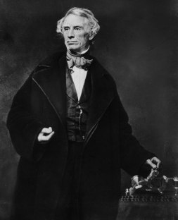 "Samuel B. Morse with his telegraph, bequeathing not only ""What hath God wrought"" to the world but also his universal code and the first international communications line."