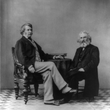 Charles Sumner, perhaps best known for the beating he sustained on the floor of Congress by Preston Brooks in 1856, sits here with friend Henry Wadsworth Longfellow. The wounds did not weaken his resolve to end slavery.