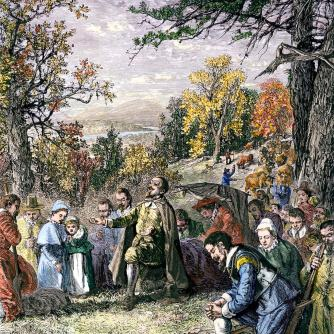 Thomas Hooker leads the settlement of Connecticut. Here they pray together, thanking God for His provision and mercy.