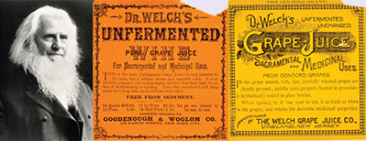 Dr. Thomas Welch, dentist and inventor, with his wife and son, devised the concept of non-fermented grape juice by the then new process of pasteurization of the containers and thus preventing the natural fermentation from juice to wine.